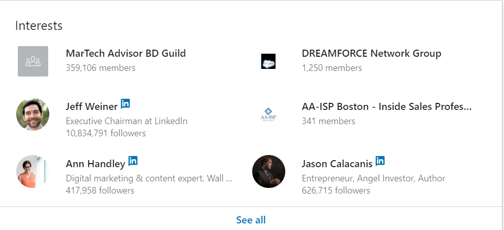 Interests section on LinkedIn