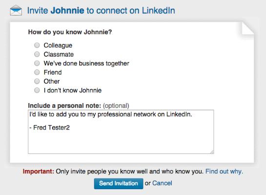 Sample invite to Johnnie