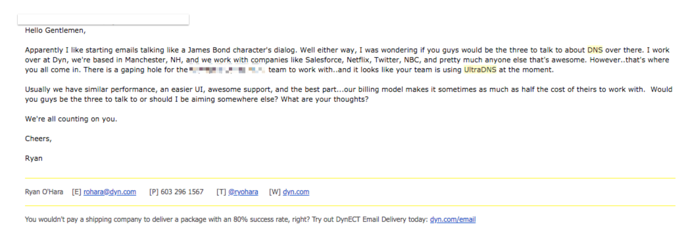 Ryan's sample email
