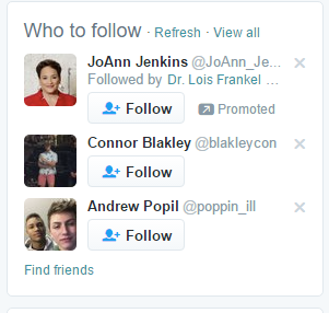 Who to follow section of Twitter