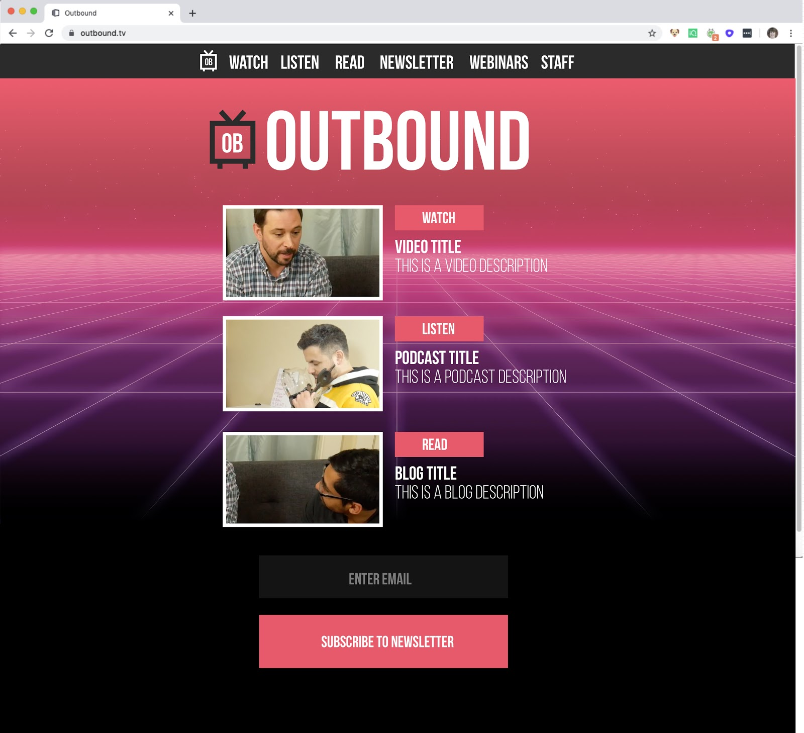 Outbound TV Home page final design