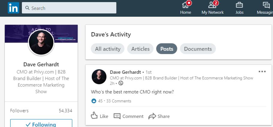 David Gerhardt's LinkedIn profile zoomed in